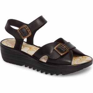 NWT Fly London Black Egalfly Sandals